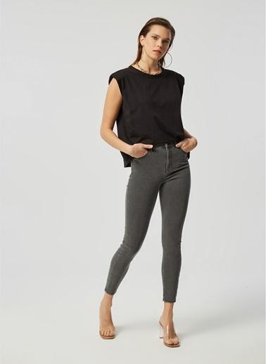 Monamoda Soft Denim Yüksek Bel Slim Fit Jean Pantolon Gri